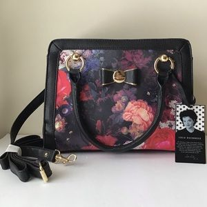LuLu Guinness black and floral satchel